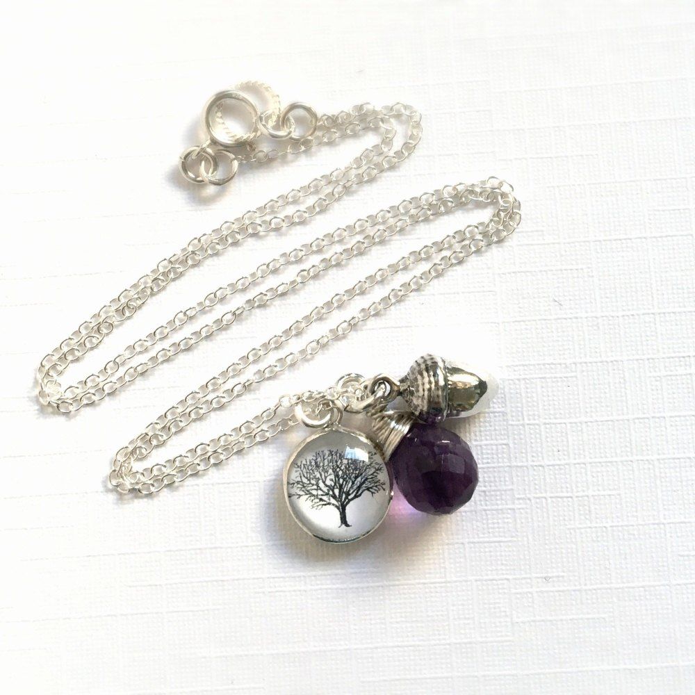 For Paula - Mighty Oaks Necklace with acorn charm and faceted amethyst