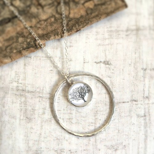 Sterling Silver Woodland Tree Charm with Hammered Circle Frame