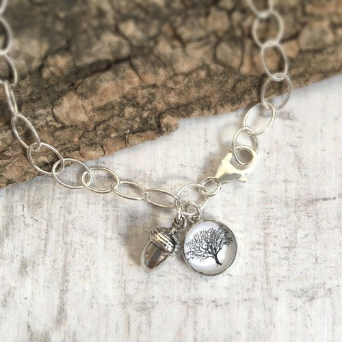 Mighty Oaks from Little Acorns Grow Sterling Silver Charm Bracelet