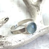 Sterling Silver ->Wild & Free<- Aqua Chalcedony Stack Ring