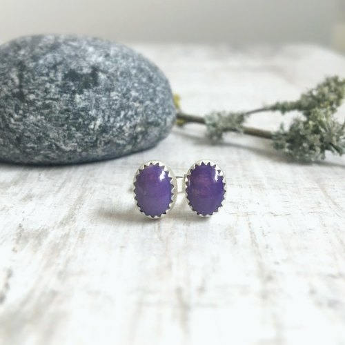 Sterling Silver Tiny Purple Charoite Stud Earrings