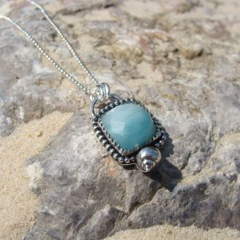 Faceted Amazonite Seashell Necklace