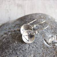 Sterling Silver Mountain Circle Dangle Earrings