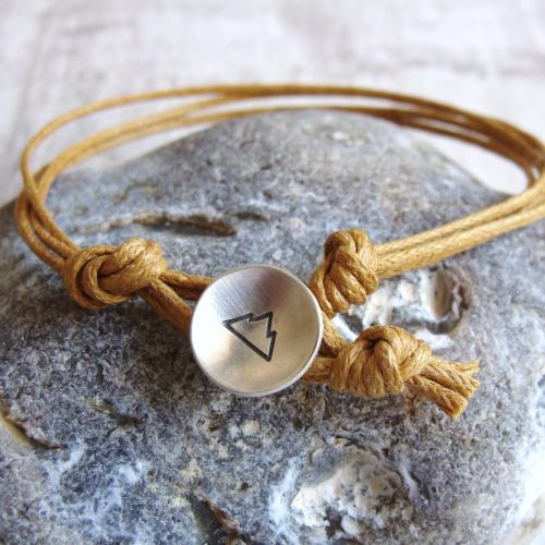 Sterling Silver Mountain Button Bracelet on Mustard Yellow Cord