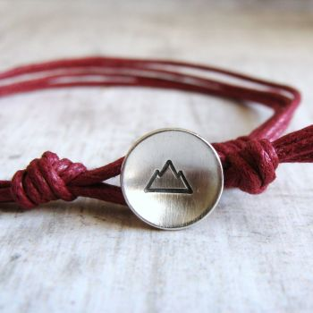 Sterling Silver Mountain Button Bracelet on Burgundy Red Cord