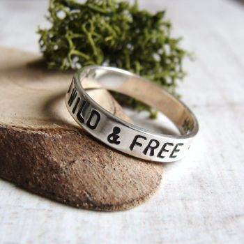 WILD & FREE Sterling Silver Hand Stamped Stacking Ring