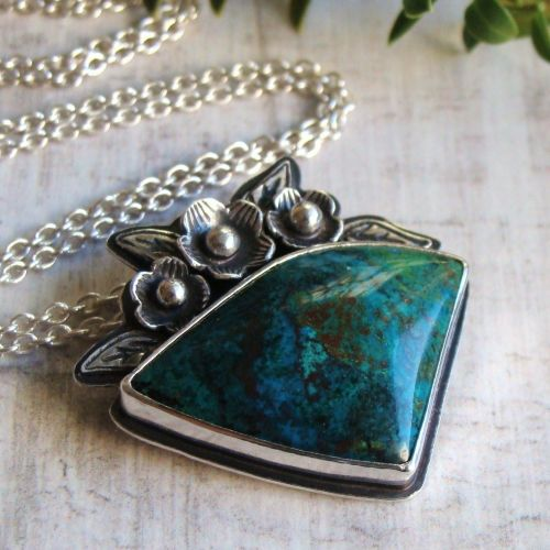 Sterling Silver Chrysocolla Gemstone Pendant Necklace
