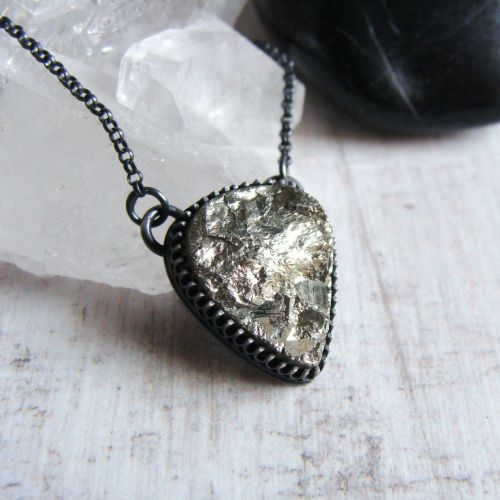 Raw Pyrite Inverted Teardrop Pendant Necklace in Oxidised Sterling Silver