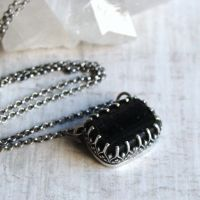 Rectangular Black Raw Tourmaline Necklace in Sterling Silver