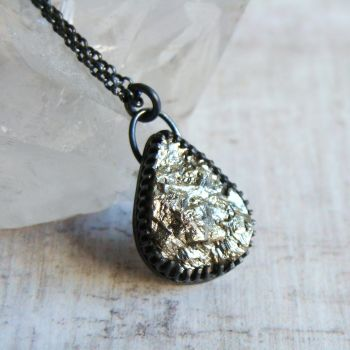 Raw Pyrite Teardrop Pendant Necklace in Oxidised Black Sterling Silver