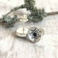 Sterling Silver Love Heart Dandelion Illustration Stud Earrings