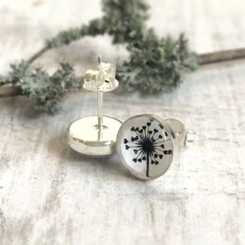 Sterling Silver Love Heart Dandelion Illustration Stud Earrings