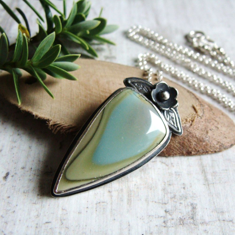 Sterling Silver Pastel Coloured Imperial Jasper Pendant Necklace