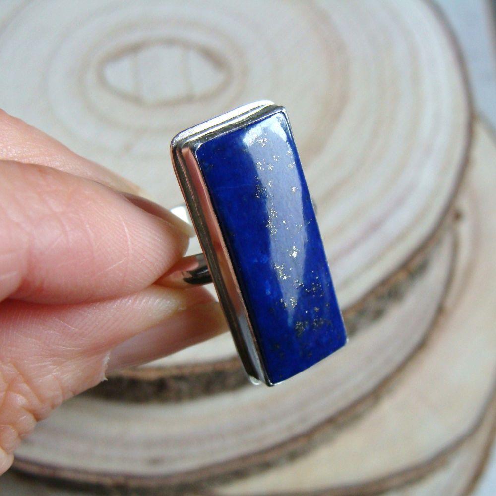Sterling Silver Rectangular Lapis Lazuli Ring
