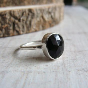 Sterling Silver Faceted Black Onyx Freeform Ring