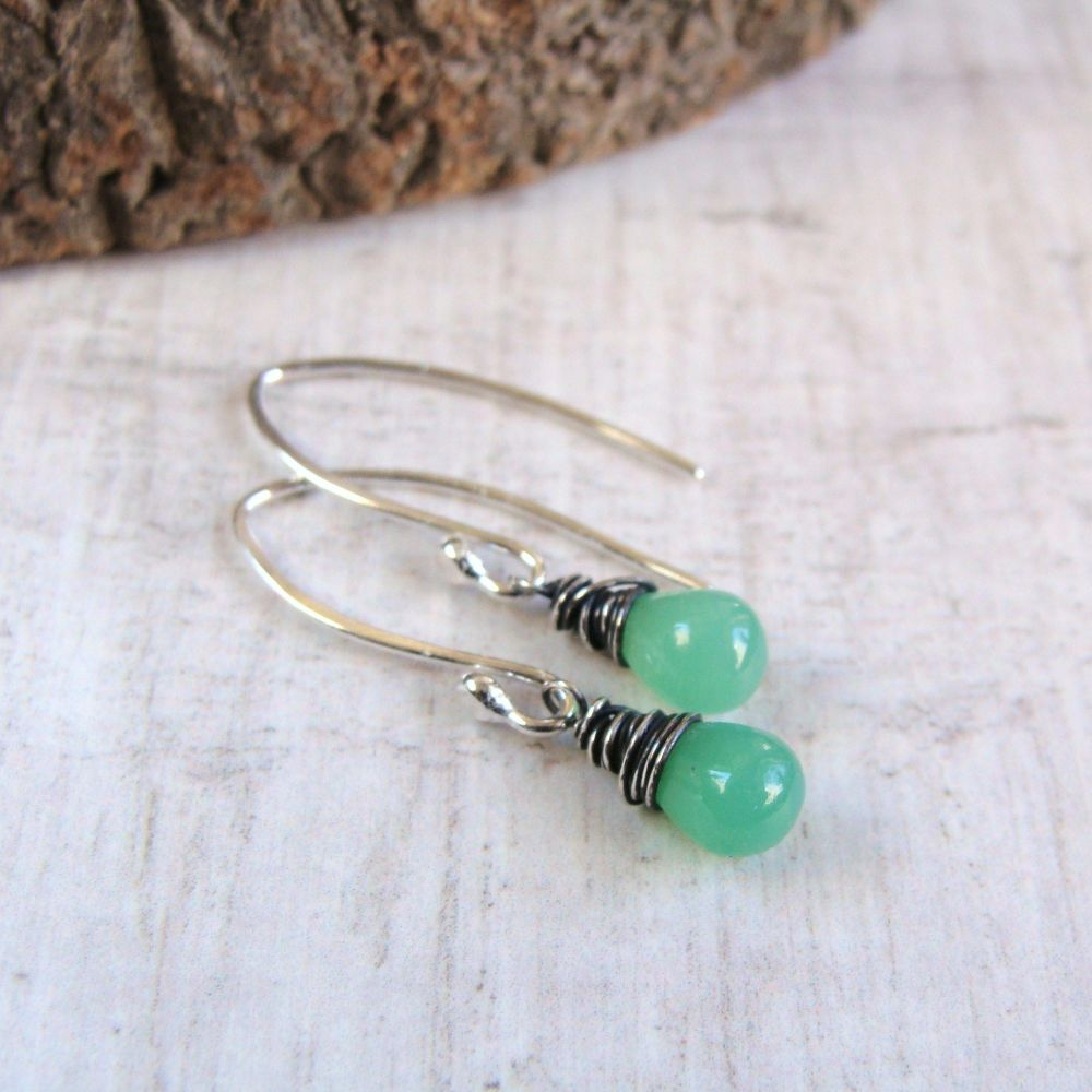 Wire Wrapped Sterling Silver Smooth Chrysoprase Teardrop Earrings