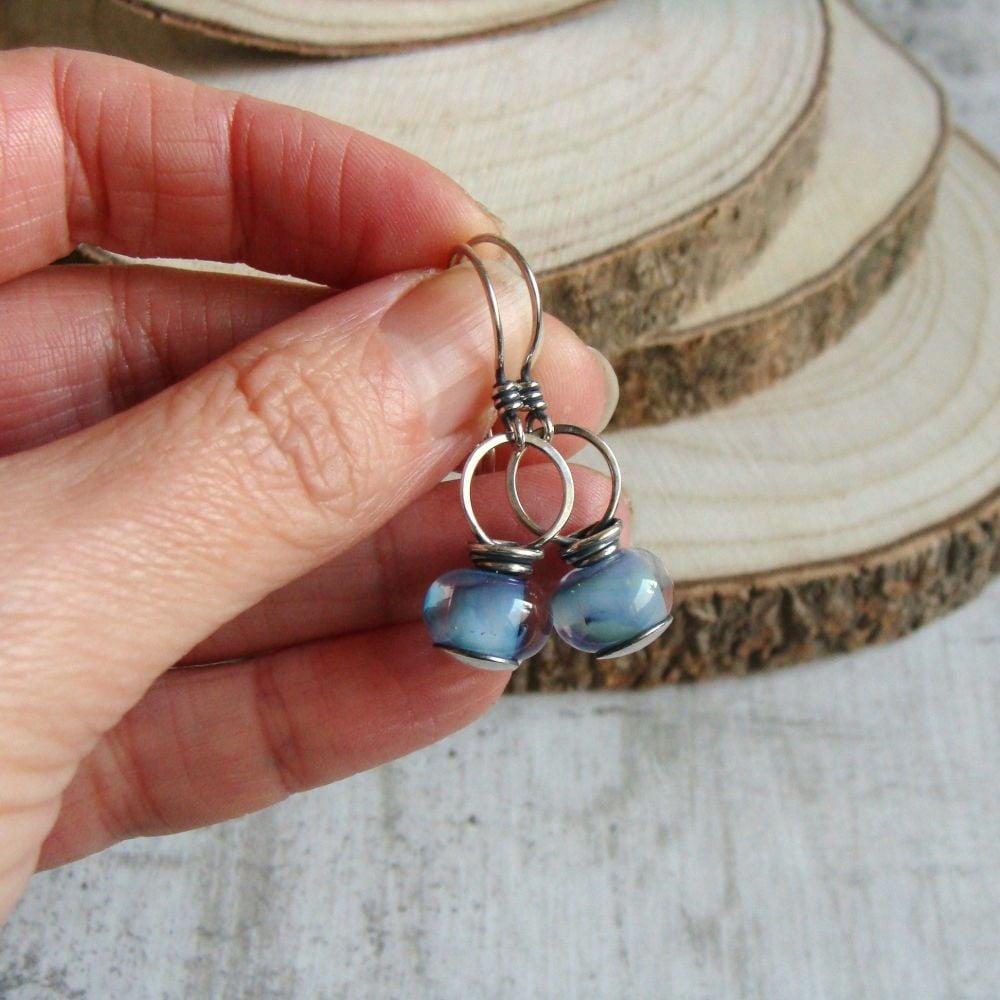 Spring Garden Lampwork Glass Bead Sterling Silver Drop Earrings