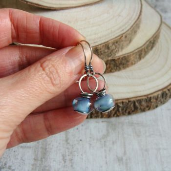 Spring Garden Lampwork Glass Bead Sterling Silver Drop Earrings