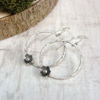 Sterling Silver Hammered Circle Earrings with Tiny Flower Embellishments