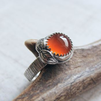 Sterling Silver Carnelian Leaf Ring No.1 (Size L 1/2)