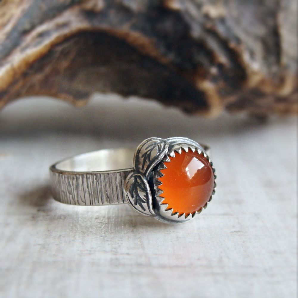 Sterling Silver Carnelian Leaf Ring No.3 (Size P)