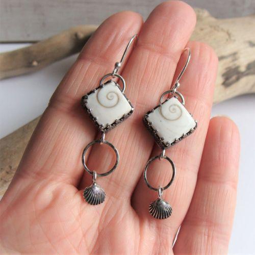 Sterling Silver Shell Specimen Dangle Earrings