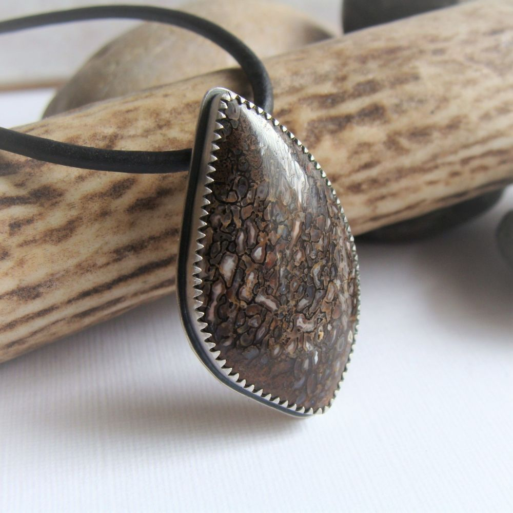 Real Dinosaur Bone Sterling Silver Pendant Leather Necklace