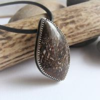 RESERVED for Joe - Real Dinosaur Bone Sterling Silver Pendant Leather Necklace