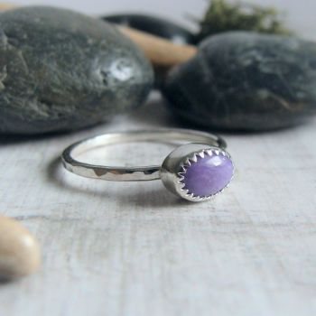 For Leanne - Sterling Silver Charoite Stack Ring