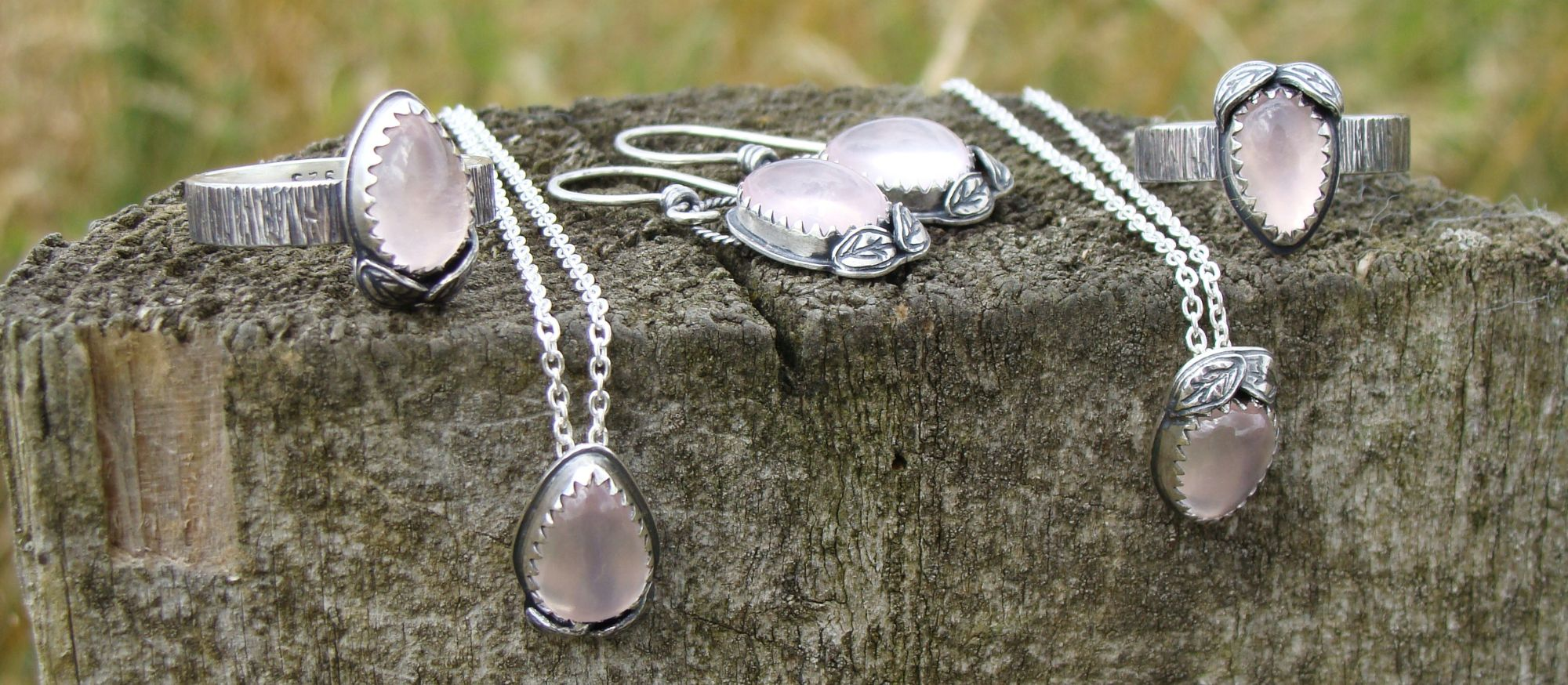 Sterling Silver Rose Quartz Woodland Collection Handcrafted from Teardrop Cabochons and silver flowers