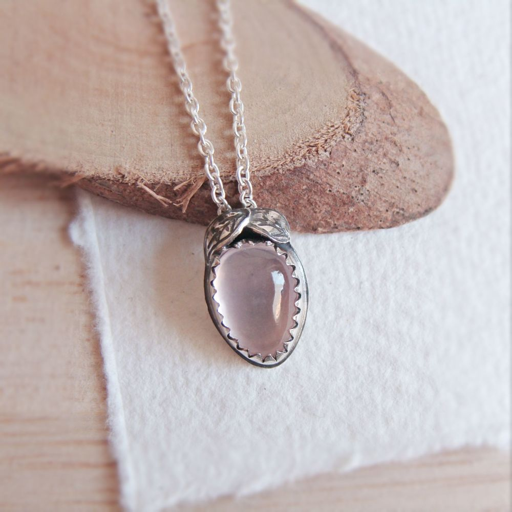 Rose Quartz Teardrop Pendant Necklace with Sterling Silver Leaves
