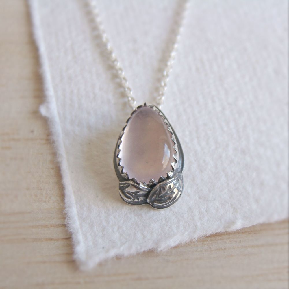 Rose Quartz Teardrop Pendant Necklace with Sterling Silver Leaves No.2