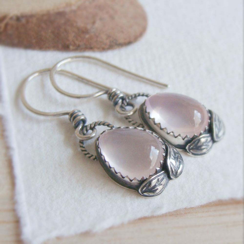 Sterling Silver Rose Quartz Teardrop Earrings with Silver Leaves