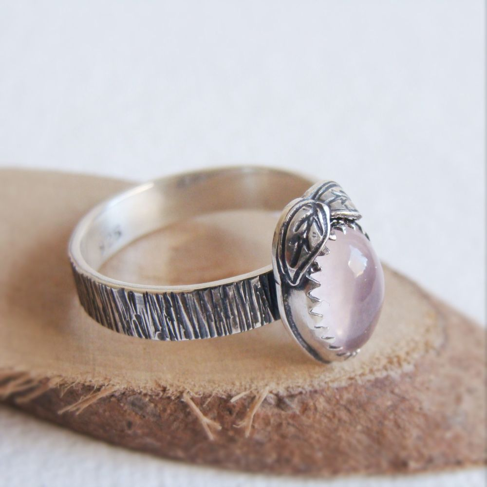 Sterling Silver Woodland Ring with Rose Quartz Teardrop & Silver Leaves (Si