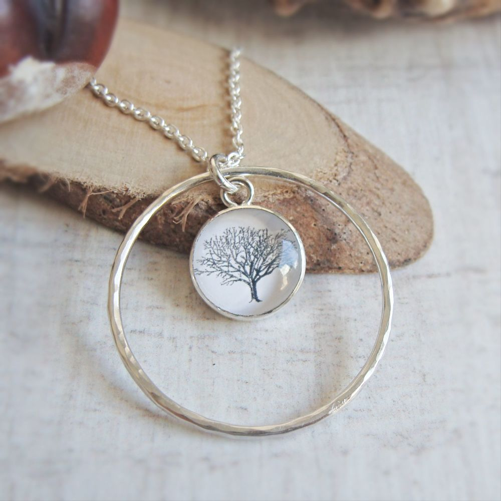 Sterling Silver Woodland Tree Charm with Hammered Circle Frame Pendant Neck