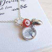 Sterling Silver Tree Illustration & Acorn Charm Necklace with Carnelian