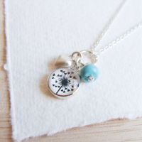Sterling Silver Cluster Necklace with Dandelion Illustration, Heart Charm and Turquoise Gemstone Bead