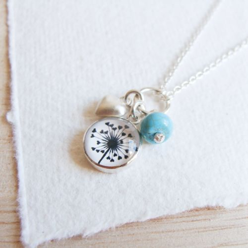Sterling Silver Cluster Necklace with Dandelion Illustration, Heart Charm a