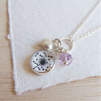 Sterling Silver Cluster Necklace with Dandelion Illustration, Heart Charm and Amethyst Bead