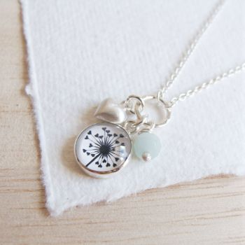 Sterling Silver Cluster Necklace with Dandelion Illustration, Heart Charm and Amazonite Bead
