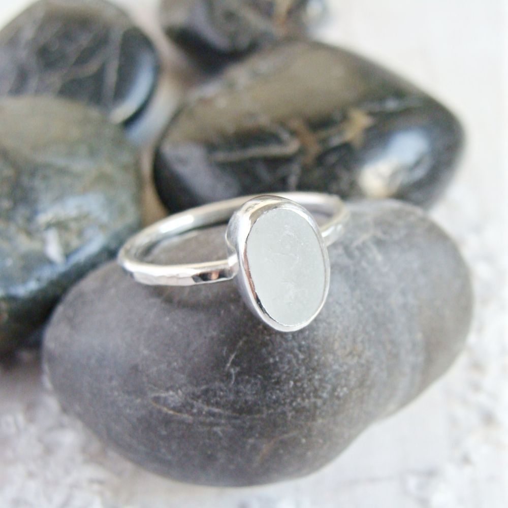 Sterling Silver Frosted Clear Sea Glass Stacking Ring