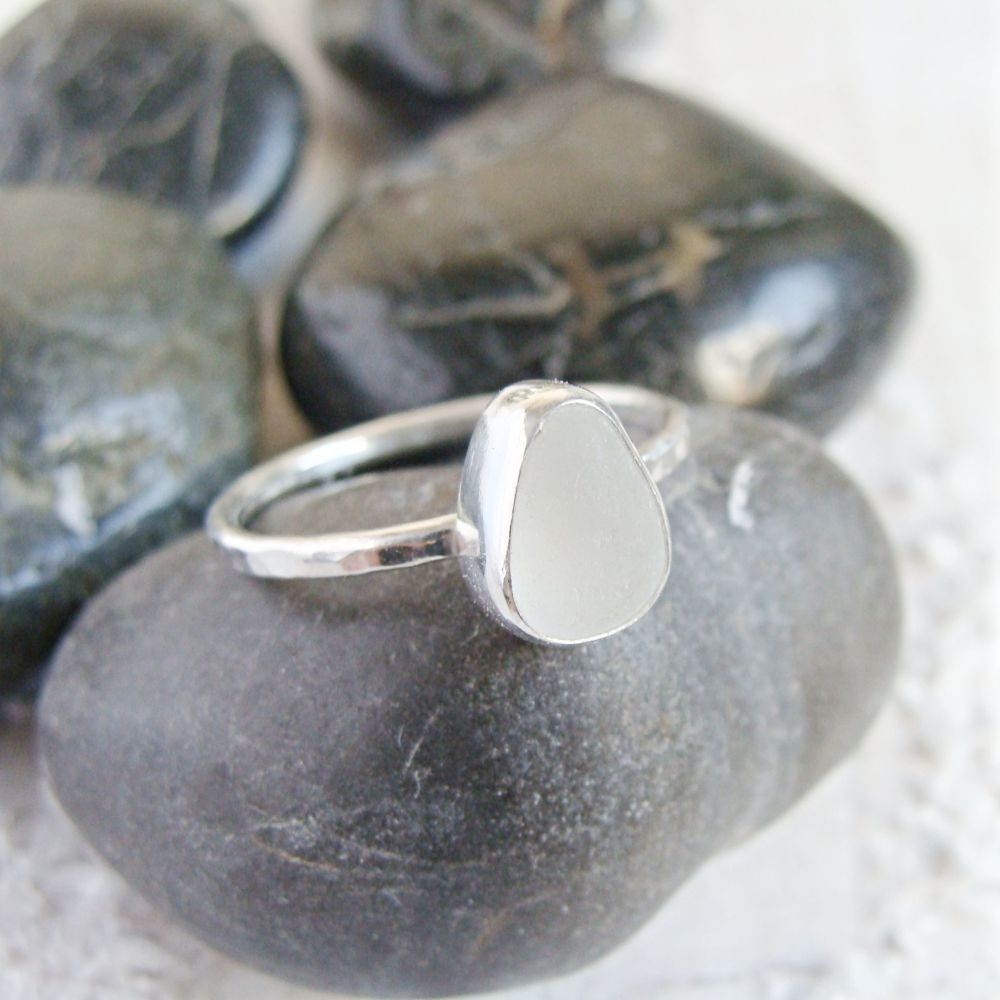 Sterling Silver Frosted Clear Sea Glass Stacking Ring No.2