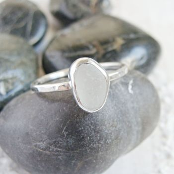 Sterling Silver Frosted Clear Sea Glass Stacking Ring (U.K Size R)