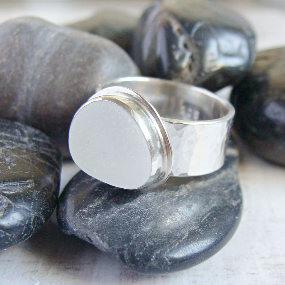 Sterling Silver Wide Band Frosted Sea Glass Pebble Ring