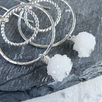 Sterling Silver Snowball Quartz Circle Dangle Earrings