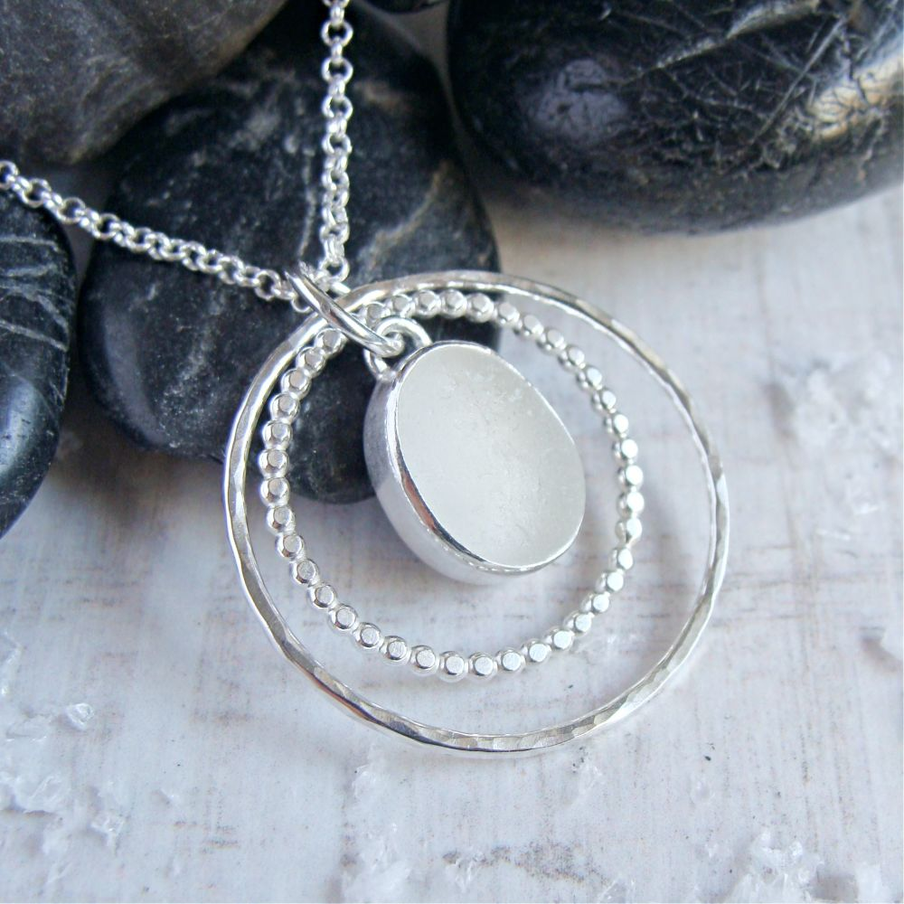 Sterling Silver Frosted Clear Sea Glass Circles Pendant Necklace