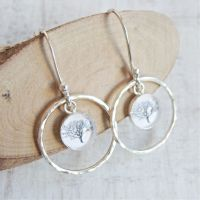 Sterling Silver Tree Charm Circle Framed Dangly Earrings