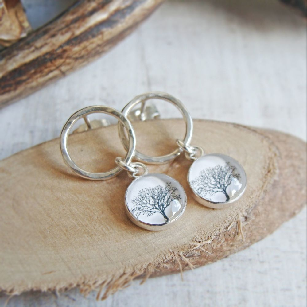 Sterling Silver Circle Studs with Tree Charm Dangles