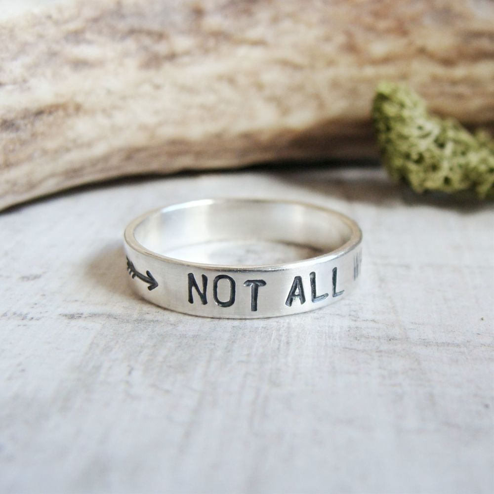 Not All Who Wander Are Lost Sterling Silver Stacking Band Ring