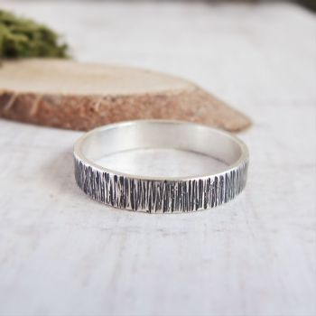 Oxidised Sterling Silver Woodland Bark Textured Stack Ring